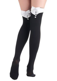Feeling Formal Thigh Highs - Black, White, Bows, Buttons, Menswear Inspired, Solid, Party