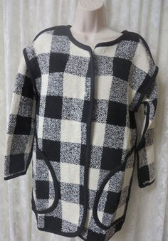 J BY JOA LOS ANGELES Black White Buffalo Check Sweater Coat NWT Jacket Unlined #Joa #BasicSweaterCoat #BusinesstoCasual