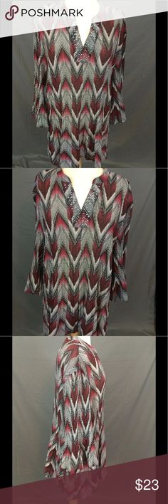"""Crinkle Chevron Studded V Neckline 3/4 Bell Sleeve Catherines Plus Size Crinkle Chevron Top Studded V Neck 3/4 Bell Sleeve Size 4X  Silver studded neckline.  Perfect Career Blouse   Underarm to underarm is approx 28 UN-stretched, 32"""" stretched. Length is approx 33"""" Catherines Tops"""