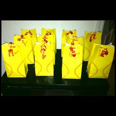 Softball candy bags  Softball party  Party ideas  Decorations  Softball  Super cute last minute idea I came up with for my daughters end of season softball party! :)