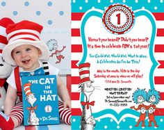 Cat in the Hat Invitation Dr. Seuss by LittleGermanBoutique Construction Birthday Invitations, Construction Party, First Birthday Invitations, Baby Shower Invitations, Cat In The Hat Party, Dr Seuss Birthday Party, Twins 1st Birthdays, Time To Celebrate, Party Items