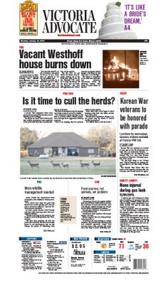 Here is the front page of the Victoria Advocate for Monday, Jan. 13, 2013. To subscribe to the award-winning Victoria Advocate, please call 361-574-1200 locally or toll-free at 1-800-365-5779. Or you can pick up a copy at one of the numerous locations around the Crossroads region.