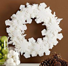 DIY Christmas Wreath. Simple felt snowflakes!