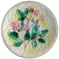 American Arsenal Pottery Majolica Blackberry Basketweave Plate