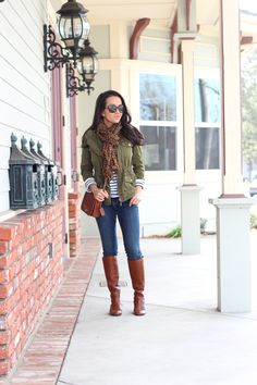 Fall outfit - utility jacket, boots over denim jeans, leopard scarf and striped top with sunglasses // StylishPetite.com