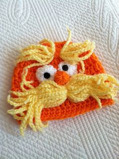 Lorax Inspired Baby Hat Yellow and Orange by LakeviewCottageKids, $35.00