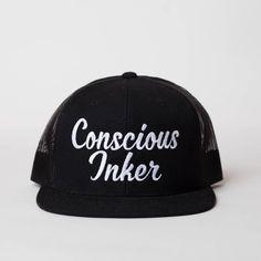 Conscious Inker Manifestation Trucker Hat Snapback Mesh Back Black