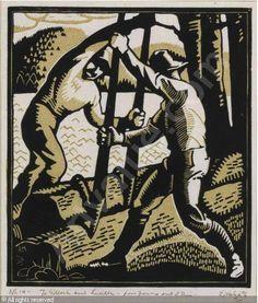 Lumberjacks - Woodcut - Edwin Headley Holgate