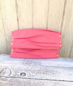 Pleated, Studded, Fold Over Clutch in Coral. $55.00, via Etsy.