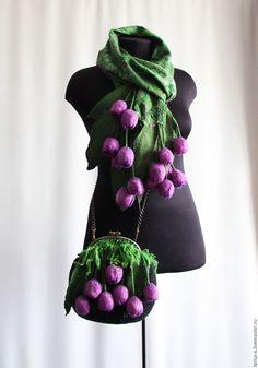 """Купить Валяный комплект """" Фиолетовые тюльпаны"""" - цветочный, фиолетовый, аксессуары, комплект, валяный комплект"""