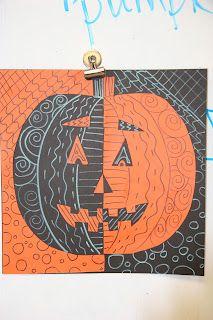 grade Positive/Negative Pumpkins and add line details Halloween Art Projects, Theme Halloween, Fall Art Projects, Classroom Art Projects, School Art Projects, Art Classroom, Art Plastique Halloween, Art Positif, Zantangle Art