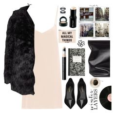 """Winter in style - Slip Dress"" by karineminzonwilson ❤ liked on Polyvore featuring Raey, Stila, Topshop, MAC Cosmetics, J.Crew, Jil Sander, Vincent Longo, Yves Saint Laurent, Forever 21 and Eva Fehren"