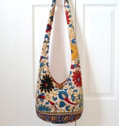 Hobo Bag Vintage Sling Bag Woodblock Print Flowers by 2LeftHandz, $34.00