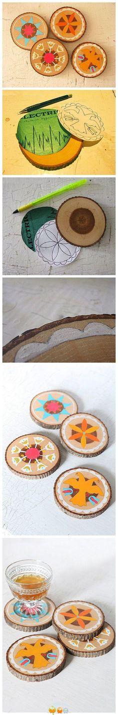 rodajas de madera pintadas