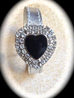 Rhinestone Heart Bracelet Vintage Heart by JNPVintageJewelry