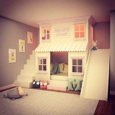 House Bunk Bed, Bunk Beds With Stairs, Kids Bunk Beds, Bunk Bed Designs, Kids Bedroom Designs, Room Design Bedroom, Bed With Slide, Big Girl Rooms, Loft Spaces