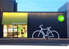 Ideas for bike shop signage retail design Retail Facade, Shop Facade, Retail Signage, Wayfinding Signage, Shop Signage, Bg Design, Signage Design, Facade Design, Exterior Design