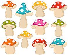 Cute Colorful Fairy Woodland Mushrooms Clip Art  by YarkoDesign