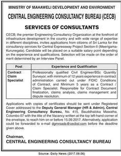 Central Engineering Consultancy Bureau is seeking candidate for Contract Claim Specialist position. Government Jobs, Engineering, Technology