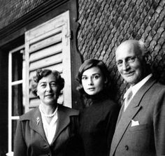 Audrey Hepburn with Anne Frank's father, Otto Frank and his second wife Fritzi, Bürgenstock, Switzerland, 1957