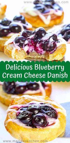 Blueberry Danish, Danish Food, Danish Pastries, Brunch Recipes, Yummy Recipes, Dinner Recipes, Breakfast Egg Casserole, Cream Cheese Danish, Fancy Desserts