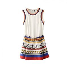 Cute Cartoon Printed Summer Ruffles Mini O-Neck Women Dresses