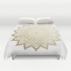 BOHO NIGHTS GOLD MANDALA BY NIKA MARTINEZ // Cover yourself in creativity with our ultra soft microfiber duvet covers. Hand sewn and meticulously crafted, these lightweight duvet covers vividly feature your favorite designs with a soft white reverse side. A durable and hidden zipper offers simple assembly for easy care - machine washable with cold water on gentle cycle with mild detergent. Available for King, Queen and Full duvets - duvet insert not included. *Queen duvet works for Twin XL…