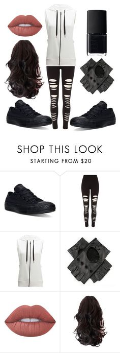"""Untitled #122"" by sstrscramr ❤ liked on Polyvore featuring Converse, River Island, Beyond Yoga, Black, Lime Crime and NARS Cosmetics"