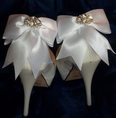Many Colors to choose from! Satin Bow Shoe Clips  set of 2  with sparkling by ShoeClipsOnly, $36.00