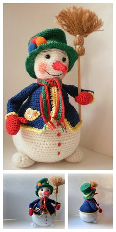 Crochet Snowman, Crochet Ornaments, Crochet Crafts, Crochet Projects, Holiday Crochet Patterns, Crochet Amigurumi Free Patterns, Crochet Dolls, Crochet Christmas Decorations, Noel Christmas