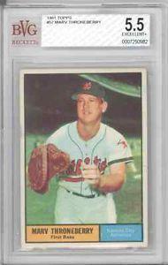 BGS BVG 5 5 EX 1961 Topps 57 Marv Throneberry Marvelous A's Mets | eBay