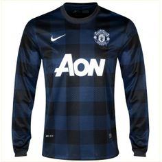 Comprar la Segunda Camiseta Manga Larga del Manchester United 2013/2014. Camiseta de visitante del manchester united en color negro y azul de manga larga