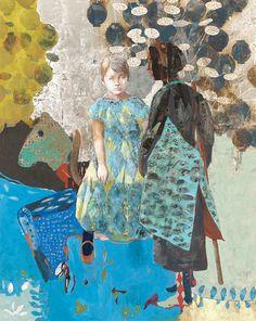 聞き手と話し手 / 第38回 創画展 Collages, Collage Art, Painting & Drawing, Painting Prints, Paintings, Conceptual Drawing, Japanese Painting, Naive Art, Japan Art