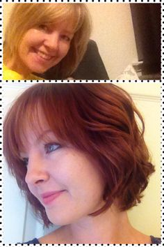 Dramatic color transformation by Dava. From blonde highlights to a saturated red.