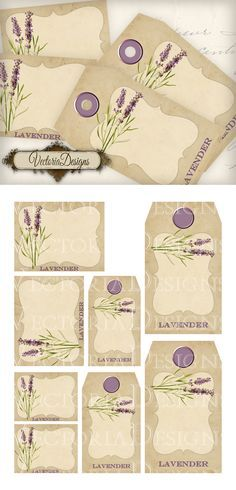 """Lavender Tags and Labels: print out and use these for your bathroom bottles, perfume bottles, kitchen jars, school items, books, ... You get: ° 2 high quality (300dpi) 3.25"""" x 2.5"""" labels ° 2 high ..."""