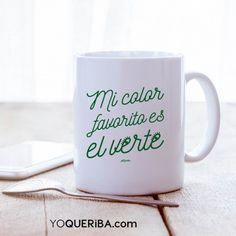 """Taza """"Verte"""" ¿Sabes cuál es mi color favorito? ¡El verte! Alegra tus desayunos, tus cafés y tus tés con esta taza y una frase romántica y divertida. Nuestra taza de porcelana blanca, apta para microondas y lavavajillas, capacidad 30cl"""