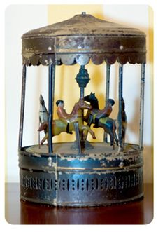 very early wind-up carousel, c.1875, France
