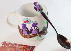 Кружки и чашки ручной работы. Заказать Подарочная чайная кружка и ложка с декором из полимерной глины. (Екатерина)Muscari. Ярмарка Мастеров. Совушки