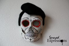 Your place to buy and sell all things handmade Spray Paint Artwork, Spray Painting, Dead King, Paper Mache Mask, Pompadour Hairstyle, White Spray Paint, Black Acrylics, Day Of The Dead, Halloween Face Makeup