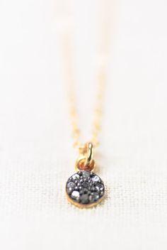 Auli'i necklace - tiny diamond necklace, diamond gold necklace, mixed metal diamond disc necklace, april birthstone, maui, hawaii bridesmaid... https://www.etsy.com/listing/178206243 http://instagram.com/kealohajewelry/