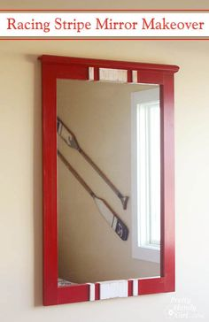 Racing Stripe Mirror Makeover with Milk Paint