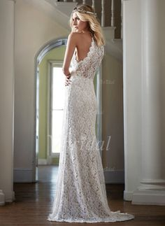 Sheath/Column Scoop Neck Sweep Train Lace Zipper Up at Side Strapless Sleeveless Church Beach Hall Garden / Outdoor Reception No Spring Summer Fall Ivory White Wedding Dress