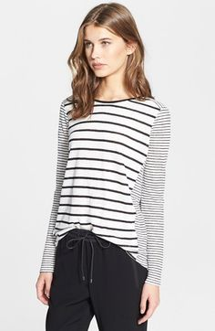 Vince+Mixed+Stripe+Long+Sleeve+Crewneck+Top+available+at+#Nordstrom