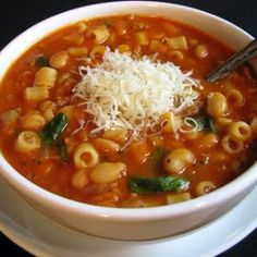 Stacy's Pasta Fagioli (Sicilian) Recipe - Yummy this dish is very delicous. Let's make Stacy's Pasta Fagioli (Sicilian) in your home! Pasta E Fagioli Soup, Pasta Soup, Pasta Fagioli Crockpot, Ham Pasta, Turkey Pasta, Garlic Pasta, Veggie Pasta, Turkey Sausage, Hearty Vegetarian Soup