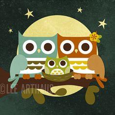 200R Retro Moonlight Owls with Boy Owl 6 x 6 Print by leearthaus, $15.00
