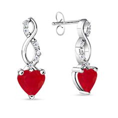Heart Ruby and Round Diamond Double Twist Earrings