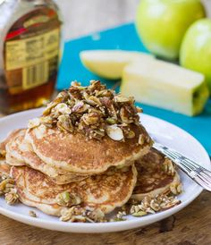 Whole Wheat Apple Pancakes with Nutty Topping adapted from Ellie Krieger's So Easy: Luscious, Healthy Recipes for Every Meal of the Week | Spicy Southern Kitchen.  Note: Uses combo ap and whole wheat flours, buttermilk and skim milk.