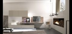 Europeo- Raster, open space elements with wall hanging shelves.