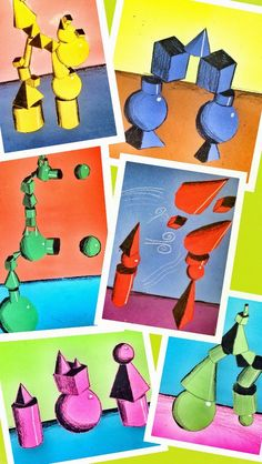 PARK ART SMARTIES: Gr. 4: Impossible Form Stacks (colored pencil, construction paper collage)