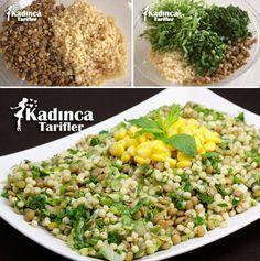 Kuskuslu Yeşil Mercimek Salatası Tarifi / Green lentil salad